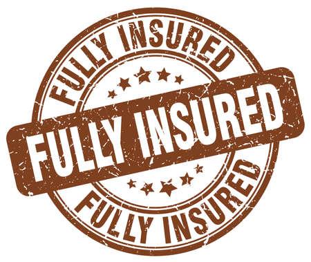 fully: fully insured brown grunge stamp Illustration