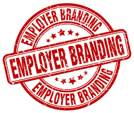 Employer Branding czerwony znaczek grunge