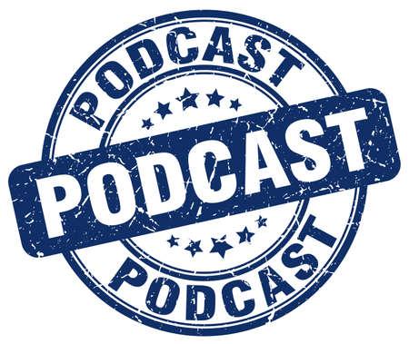 podcast: podcast blue grunge stamp Illustration