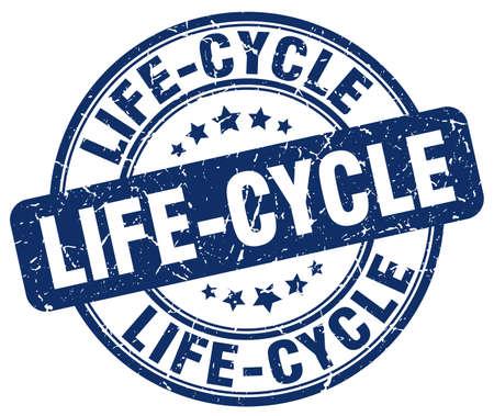 ciclo de vida: ciclo de vida sello azul del grunge Vectores