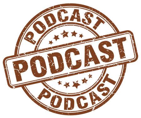 podcast: podcast brown grunge stamp Illustration