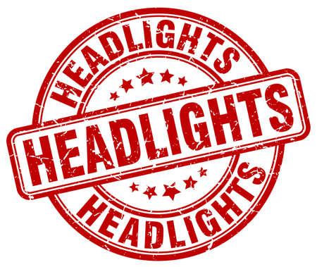 headlights: headlights red grunge stamp