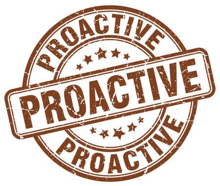 proactive: proactive brown grunge stamp