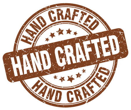 crafted: hand crafted brown grunge stamp Illustration