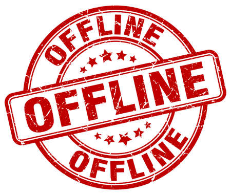 offline: offline red grunge stamp