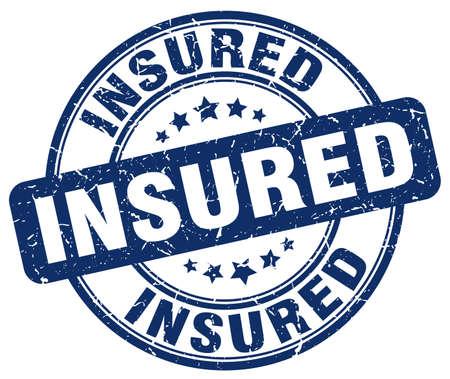 insured: insured blue grunge stamp