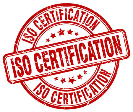 certification: iso certification red grunge stamp