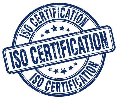 iso certification blue grunge stamp