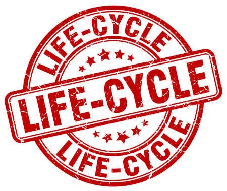 ciclo de vida: ciclo de vida del sello del grunge rojo