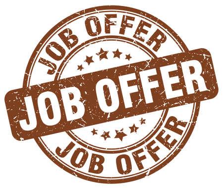 job offer brown grunge stamp