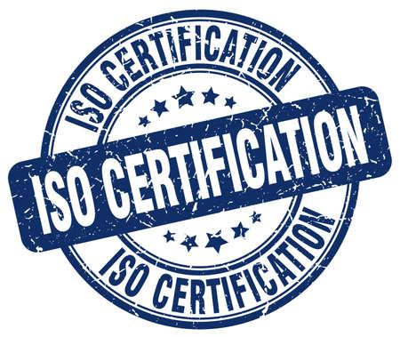 certification: iso certification blue grunge stamp Illustration