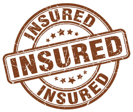 insured: insured brown grunge stamp Illustration