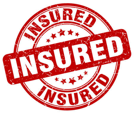 insured: insured red grunge stamp