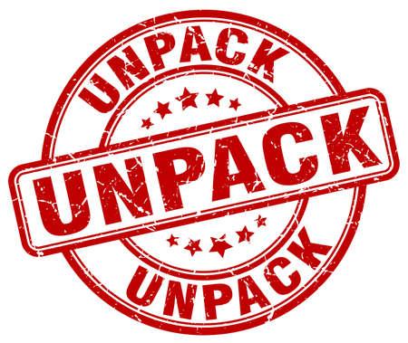 to unpack: unpack red grunge stamp