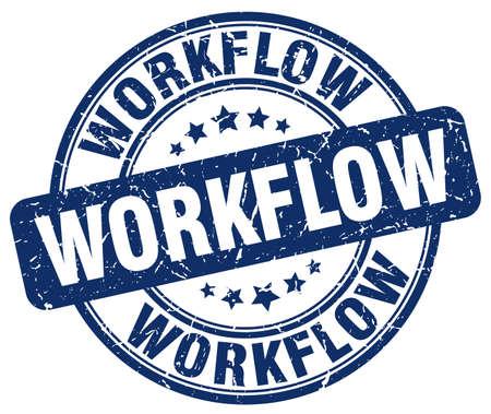 workflow: workflow blue grunge stamp Illustration