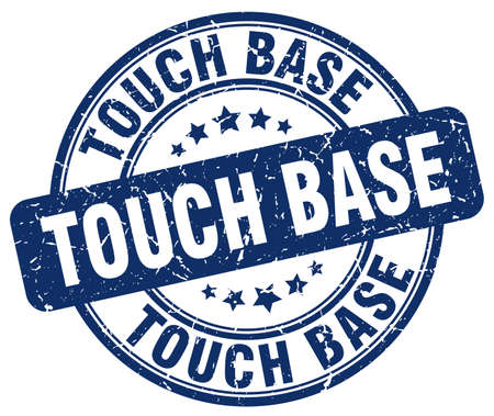 touch: touch base blue grunge stamp