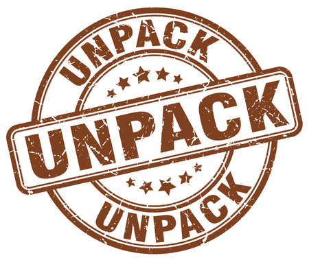 to unpack: unpack brown grunge stamp
