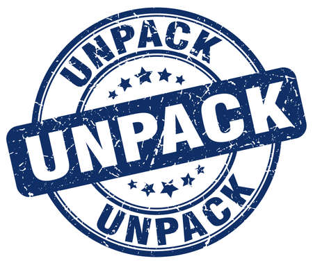to unpack: unpack blue grunge stamp