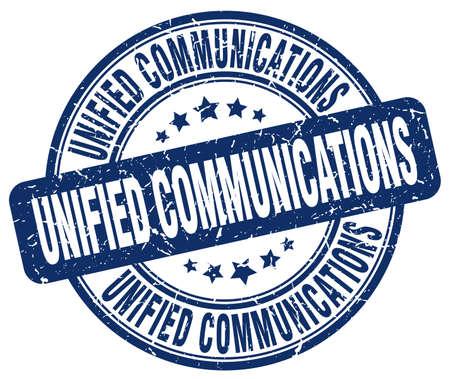 通信: ユニファイドコミュニケーション青いグランジ スタンプ