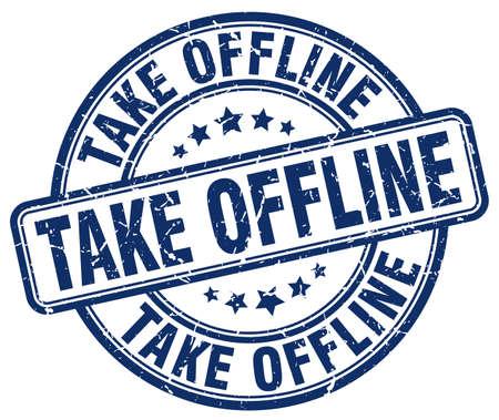 offline: take offline blue grunge stamp