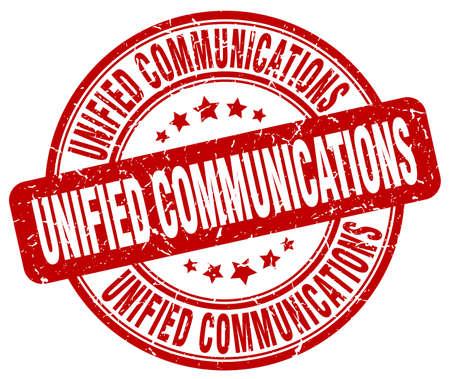 通信: ユニファイドコミュニケーション赤グランジ スタンプ  イラスト・ベクター素材