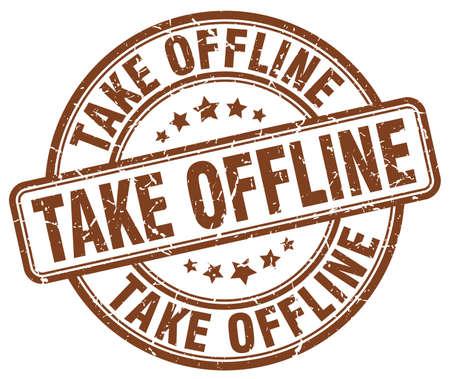 offline: take offline brown grunge stamp