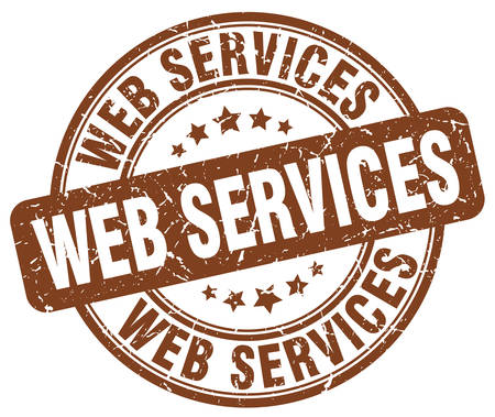web services: web services brown grunge stamp