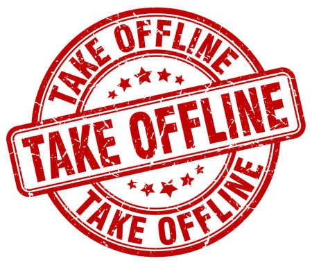 offline: take offline red grunge stamp