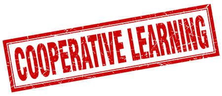 cooperativismo: sello cuadrado aprendizaje cooperativo Vectores