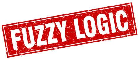 lógica: lógica difusa sello cuadrado Vectores