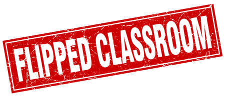 flipped: flipped classroom square stamp Illustration