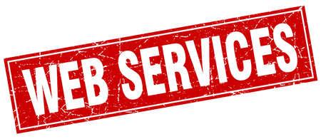 web services: web services square stamp Illustration