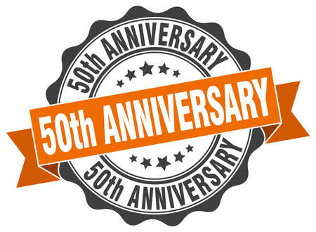 50ste verjaardag stempel. teken. zeehond