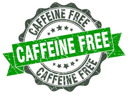 caffeine free: caffeine free stamp. sign. seal