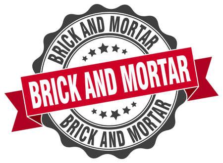 brick and mortar: brick and mortar stamp. sign. seal