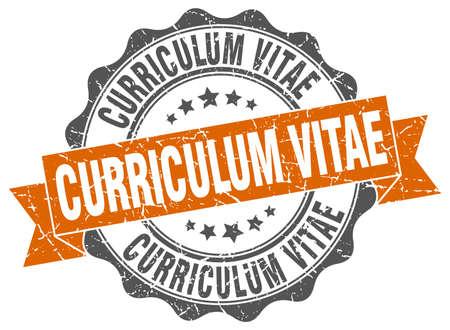 curriculum vitae stamp. sign. seal
