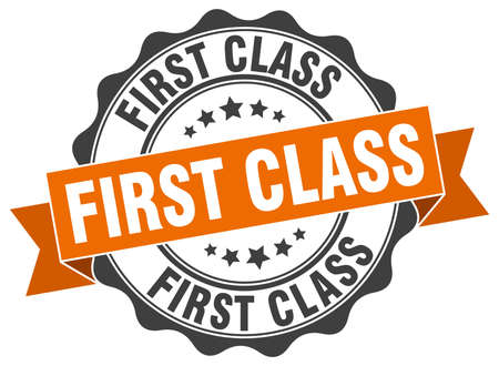 first class: first class stamp. sign. seal Illustration
