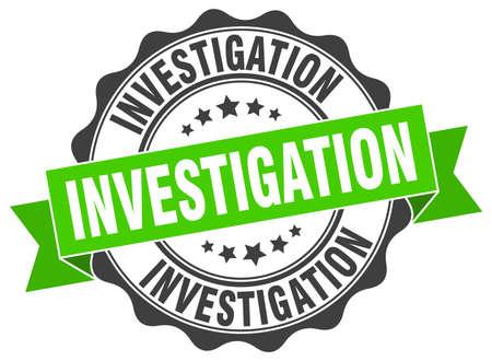 investigación: sello de investigación. firmar. sello Vectores