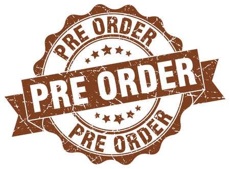 pre: pre order stamp. sign. seal Illustration