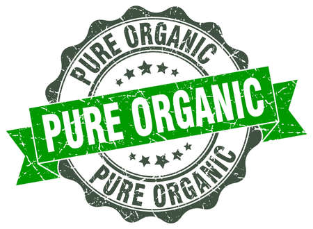 pure: pure organic stamp. sign. seal