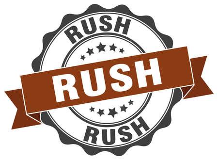 rush: rush stamp. sign. seal