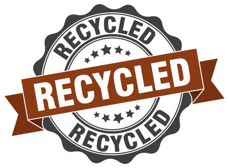 recycled: recycled stamp. sign. seal
