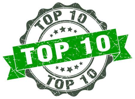 Top-10-Stempel. Schild. Dichtung