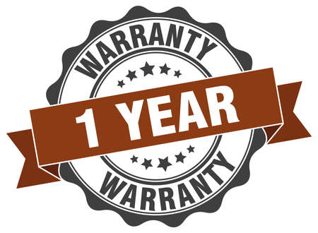 1 year: 1 year warranty stamp. sign. seal