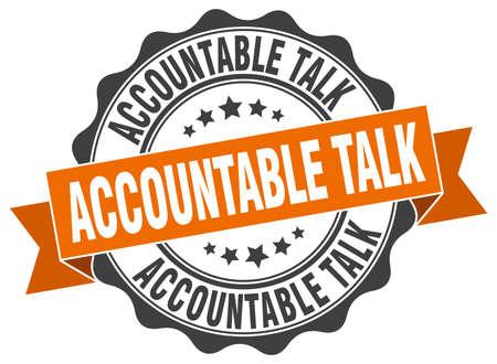 accountable: accountable talk stamp. sign. seal