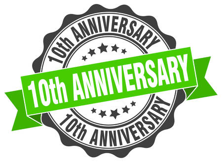 tenth: 10th anniversary stamp. sign. seal