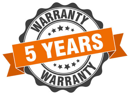 5 years warranty stamp. sign. seal