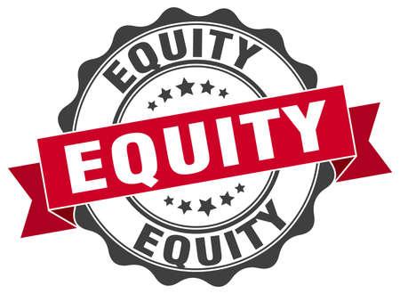 equidad: sello de equidad. firmar. sello Vectores