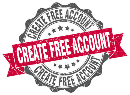 account: create free account stamp. sign. seal Illustration