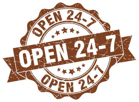 open 24 7 stamp. sign. seal Illustration